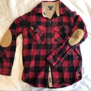 Roots cotton plaid shirt with corduroy elbows!